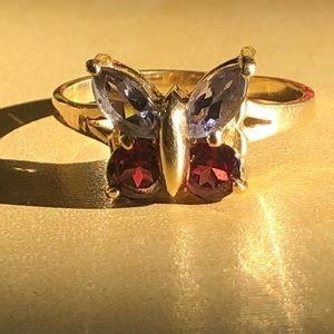 Gorgeous Amethyst and Garnet Butterfly ring
